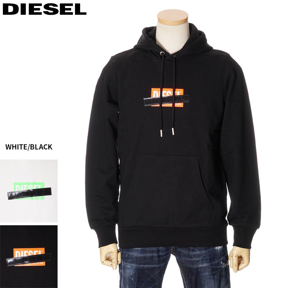ディーゼル DIESEL プルオーバーパーカー スウェット メンズ ホワイト/ブラック S/M/L/XL 00SGUW 0KAXU
