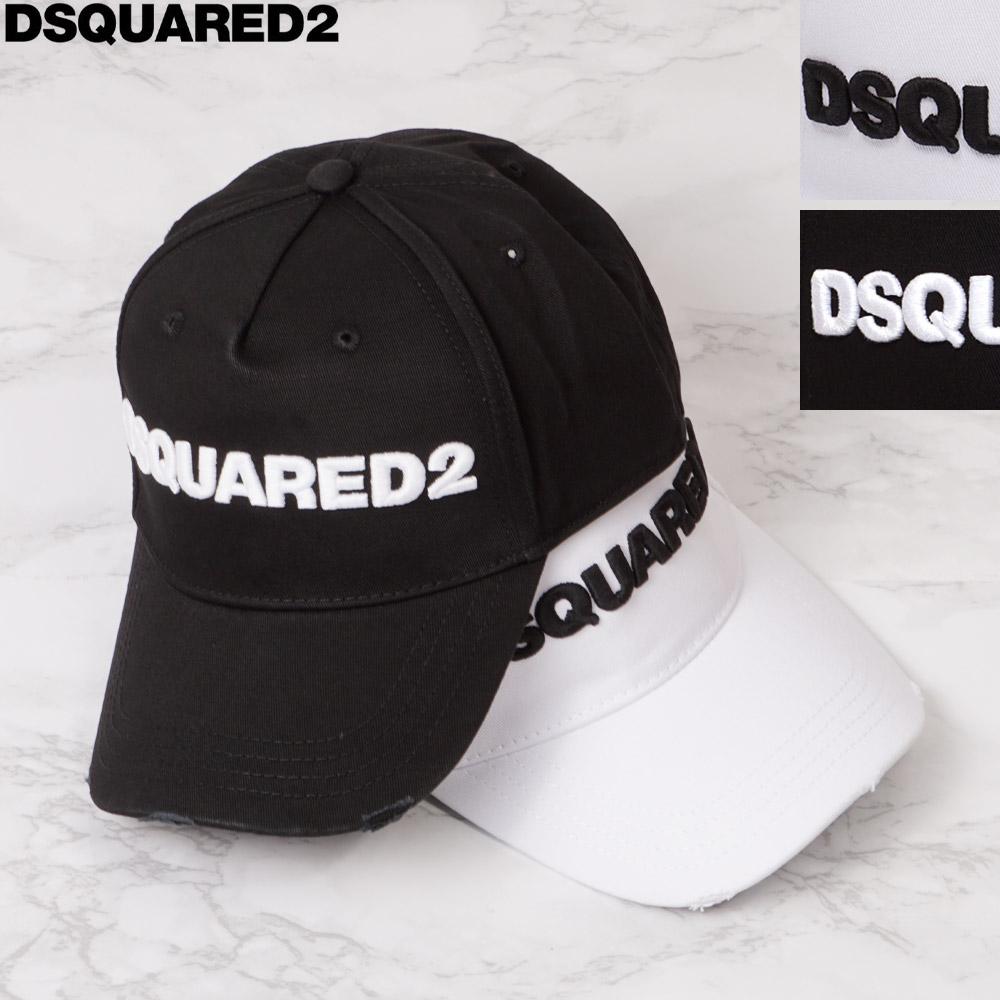マーケティング 均一価格 ディスカウント 2021年春夏新作 ディースクエアード キャップ DSQUARED2 帽子 ロゴ入り ブラック アウトレットセール ホワイト メンズ フリー BCM0028 05C00001