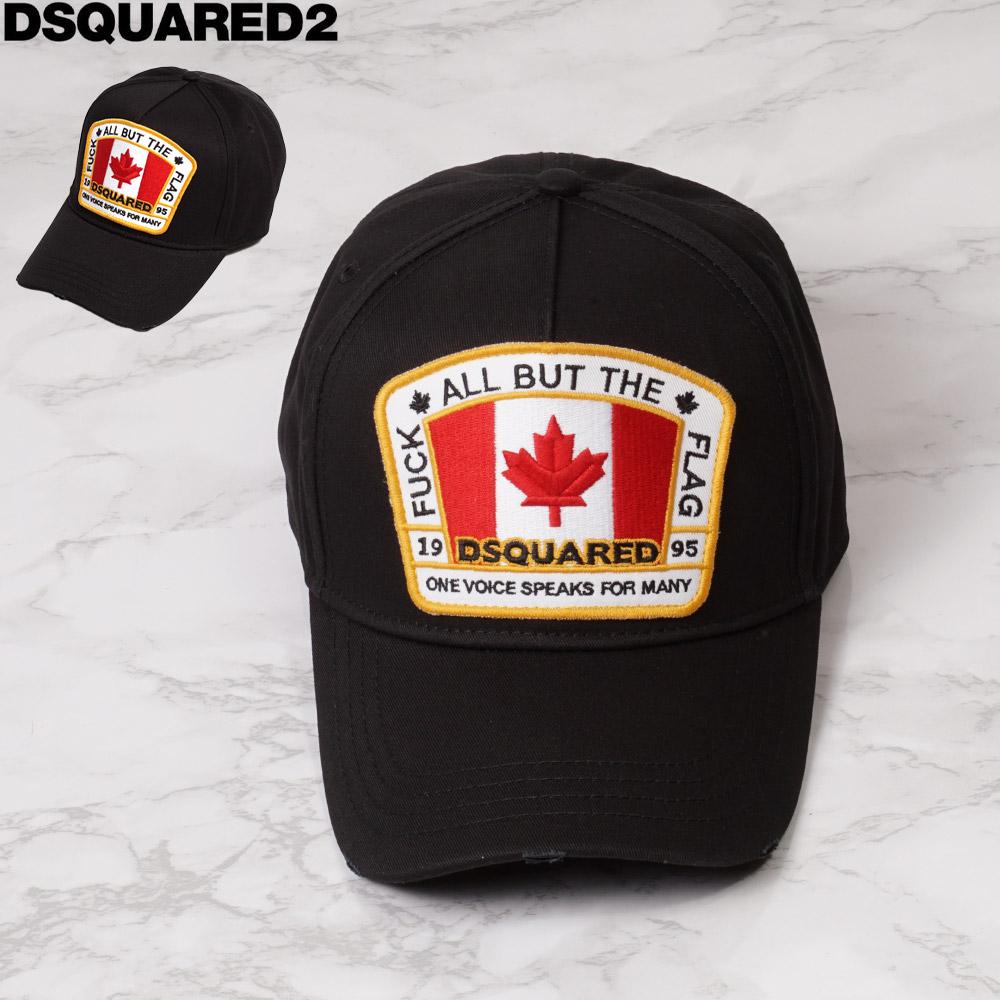 ディースクエアード DSQUARED2 キャップ 帽子 メンズ カナダマーク ブラック フリー BCM4011 05C00001