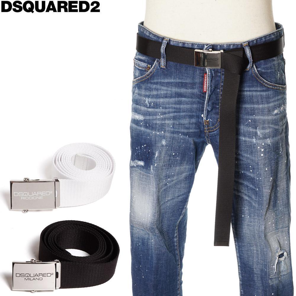 ディースクエアード DSQUARED2 ベルト 切り取り調整可能 メンズ ブラック/ホワイト フリー BEM0246 20200508