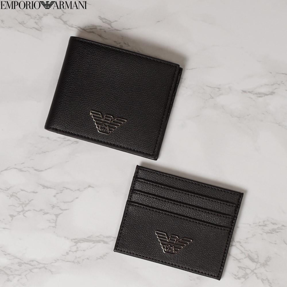 エンポリオ アルマーニ EMPORIO ARMANI 二つ折りサイフ カードケース セット メンズ イーグルロゴ ブラック フリー Y4R237 YLA0E