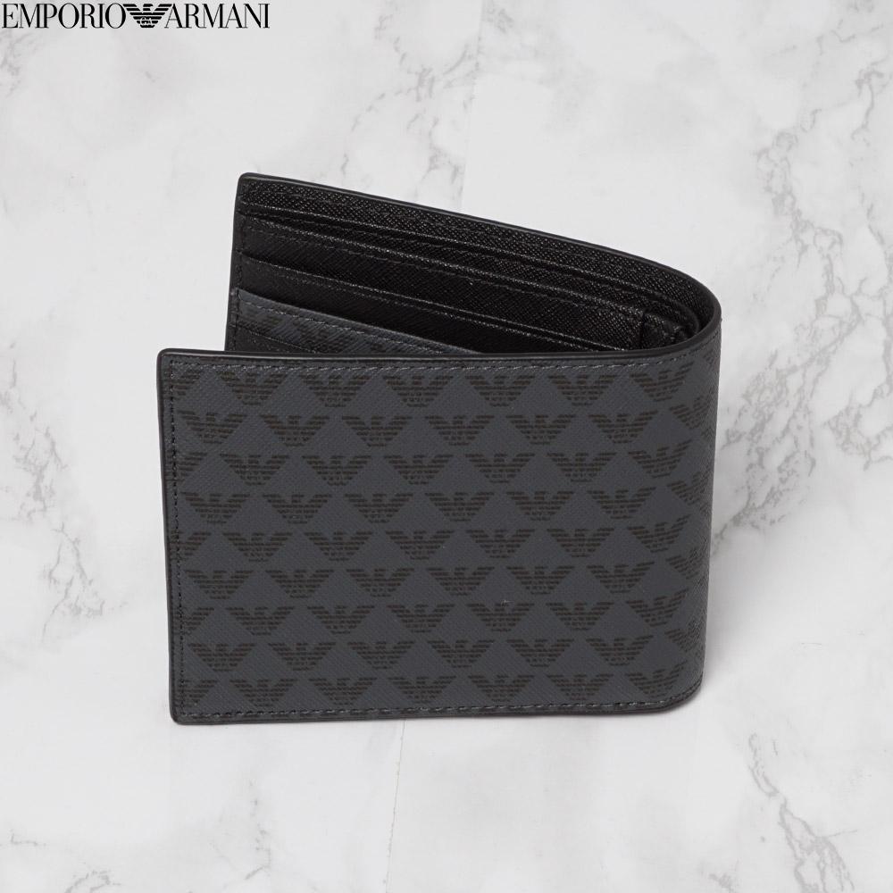 エンポリオアルマーニ EMPORIO ARMANI 二つ折り財布 メンズ イーグル総柄 ブラック Y4R065 YG91J