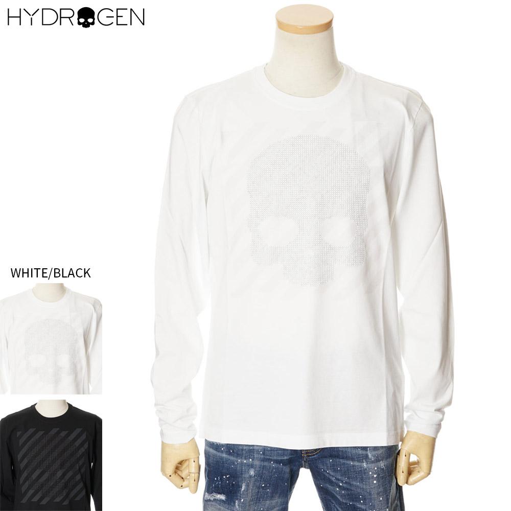 ハイドロゲン HYDROGEN ロングTシャツ スタッツ付き 長袖 ロンT メンズ ホワイト/ブラック S/M/L/XL/2XL/3XL 260109