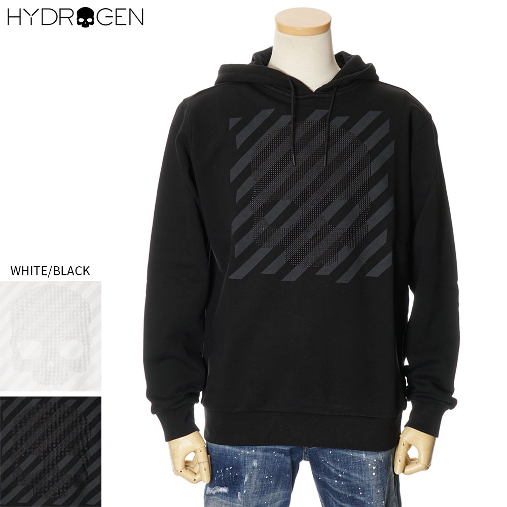 ハイドロゲン HYDROGEN プルオーバーパーカー スウェット スタッツ付き メンズ ホワイト/ブラック S/M/L/XL/2XL/3XL 260100
