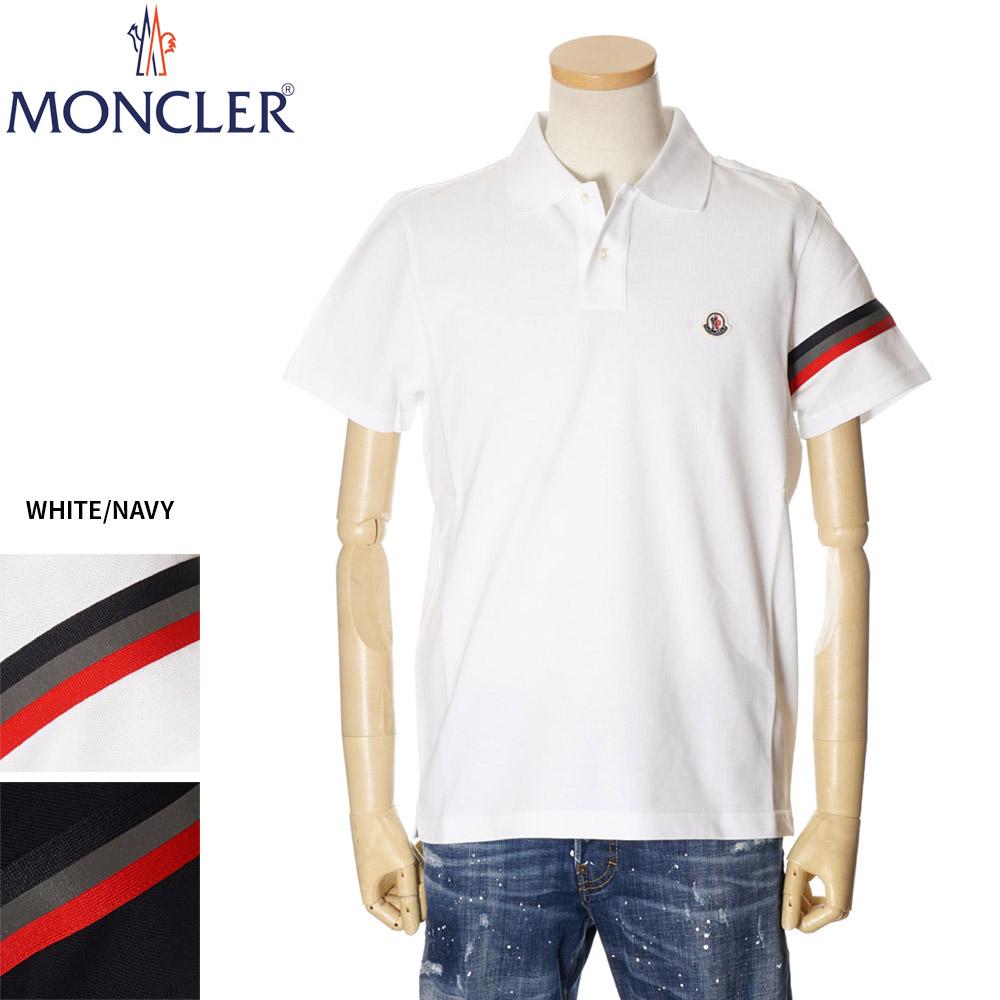 モンクレール MONCLER ポロシャツ メンズ 半袖 ロゴ 左袖トリコロールライン ホワイト/ネイビー S/M/L/XL/2XL/3XL 091 8A70900 84556