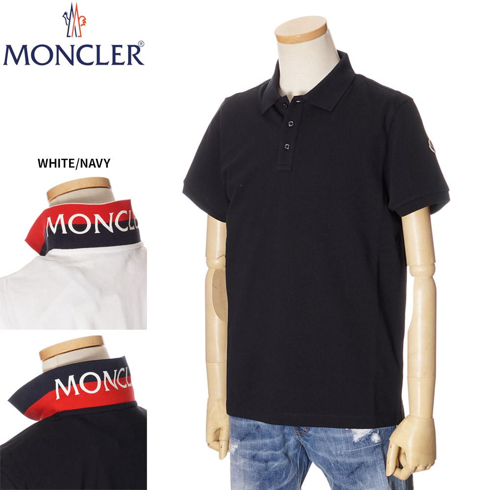 モンクレール MONCLER 鹿の子 ポロシャツ メンズ 襟裏ロゴ ホワイト/ネイビー S/M/L/XL/2XL/3XL 091 8A70510 84556
