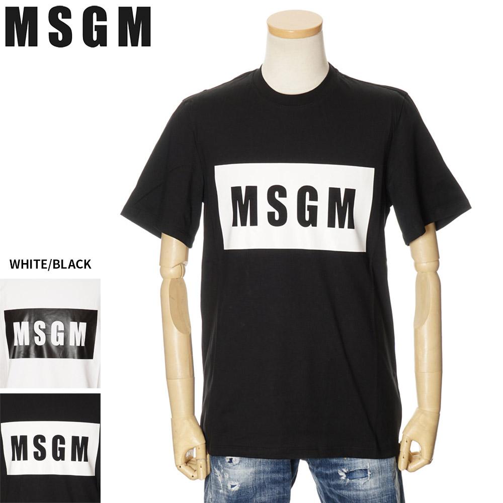 エムエスジーエム MSGM 半袖Tシャツ メンズ ホワイト/ブラック XS/S/M/L/XL 2840MM67 207098