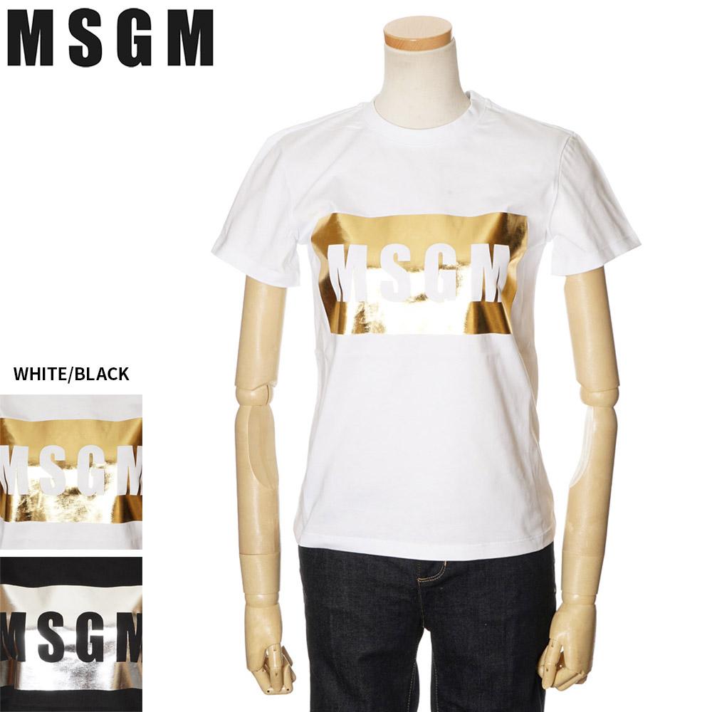 エムエスジーエム MSGM 半袖Tシャツ レディース ボックスロゴ ホワイト/ブラック XS/S/M 2841MDM95 207298