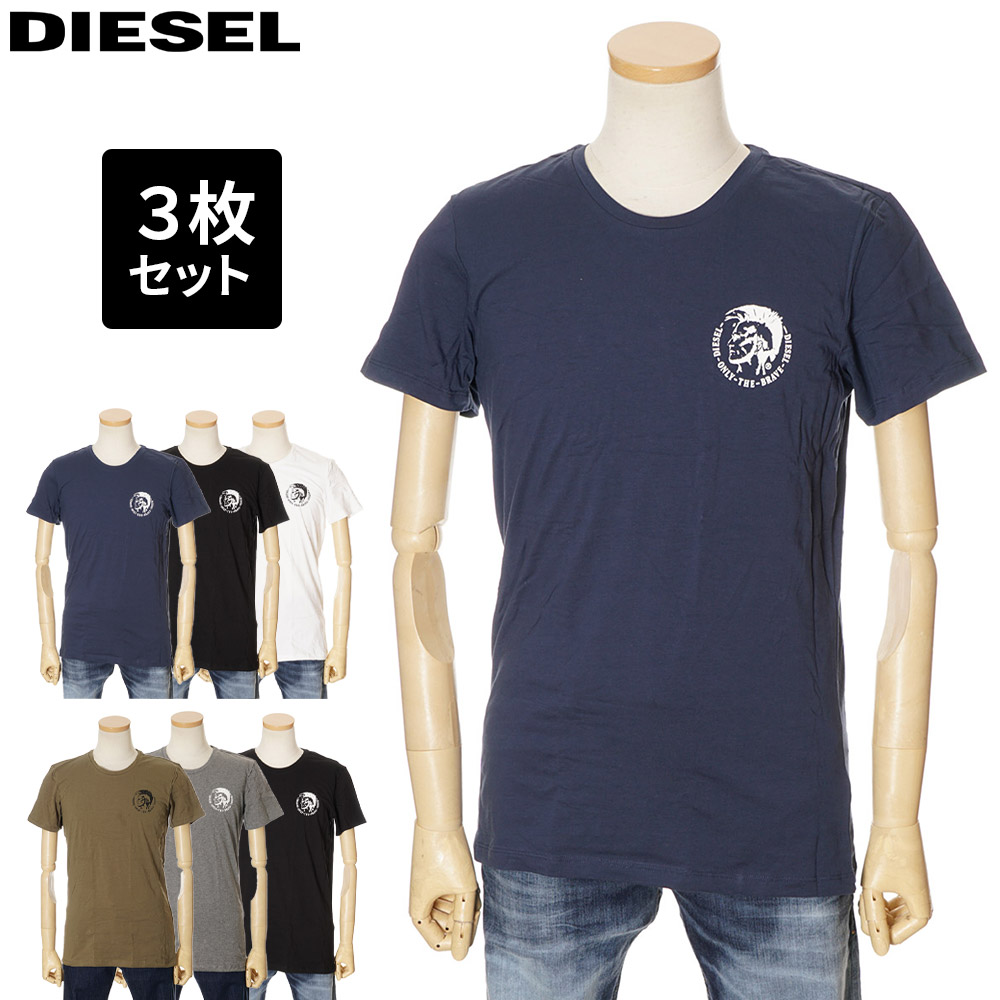 均一価格 2021年春夏新作 ディーゼル メンズ Tシャツ DIESEL 3色セット ホワイト ネイビー XL Seasonal Wrap入荷 L S 0TANL 00SJ5L アウトレットセール ブラック 2XL M 高品質新品