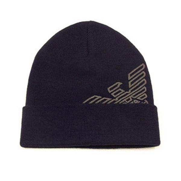 EMPORIO ARMANI ニット帽 ロゴ入り ネイビー系 Mフリー 627818 7A504 00035 [41102]