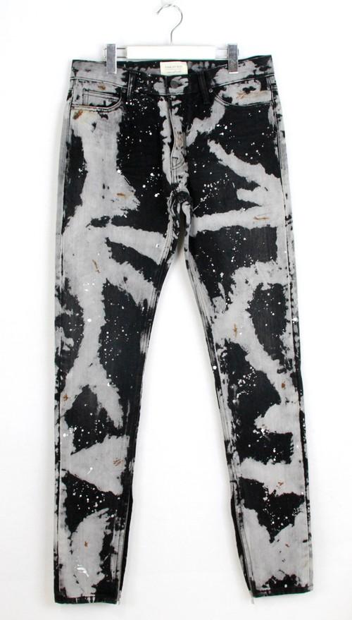 FEAR OF GOD / far of good maxfieldLA exclusive bleach cutting hem zip denim size: 32 color: black / off-white s7 not ya