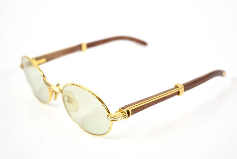 7b1803e9dcf4 Cartier  Cartier Wood temple glasses vintage 130b size  A 51-20 color  Gold    brown