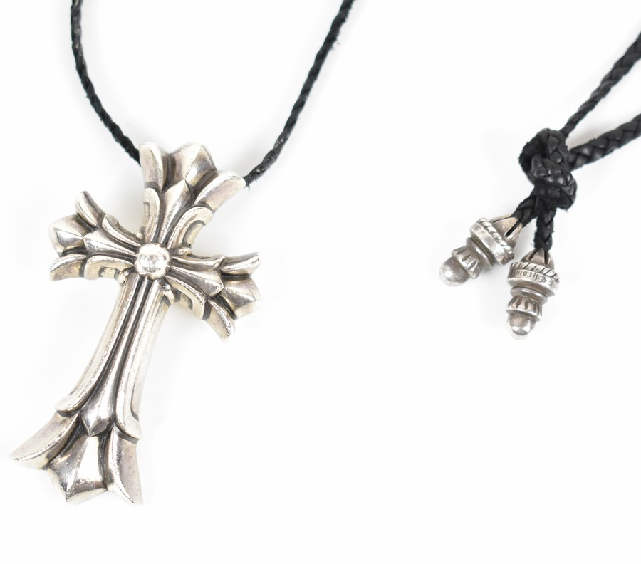 3f879d3b1d4 CHROME HEARTS  chrome Hertz double CH cross necklace barrel tip leather  braid size  A large collar  Silver