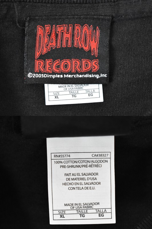 Snoop Doggy Dogg Dog Vintage Print T Shirt Death Row Records Official Size XL Color Black Purple