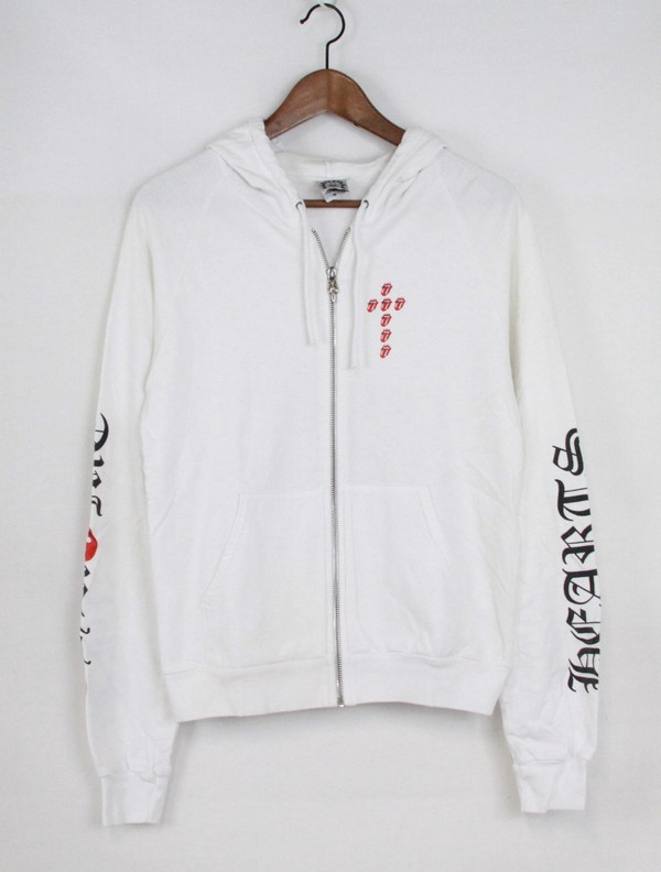 179a375fd45 CHROME HEARTS   chrome rolling stones lips   then print zip up parka size  s  color  white s7 ya