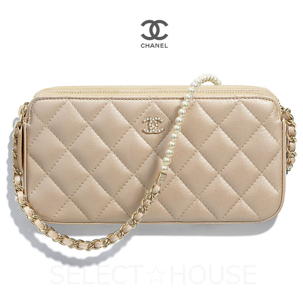 906a5ab44dc706 SELECT HOUSE: CHANEL Chanel chain clutch clutch chain leather beige ...