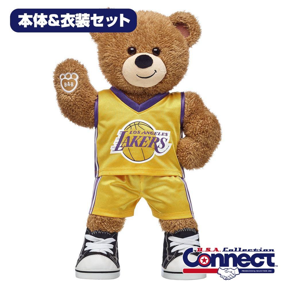 ダッフィー シェリーメイサイズ!本場USAのティディベア! Build-A-Bear ダッフィー NBA レイカーズ ぬいぐるみ コスチュームセット ギフト ビルドアベア 即日発送可