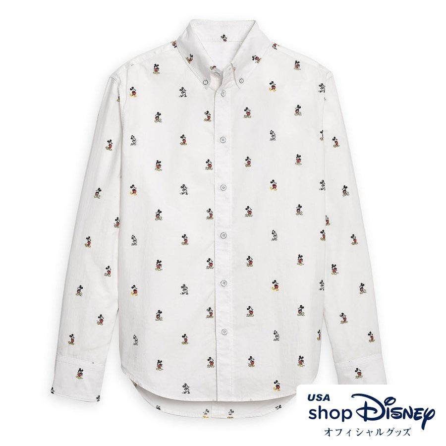 お取り寄せ ディズニー Disney US公式 レディース メンズ兼用 ミッキーマウス デビュー90周年記念 ボタンシャツ 長袖 ラグ&ボーン