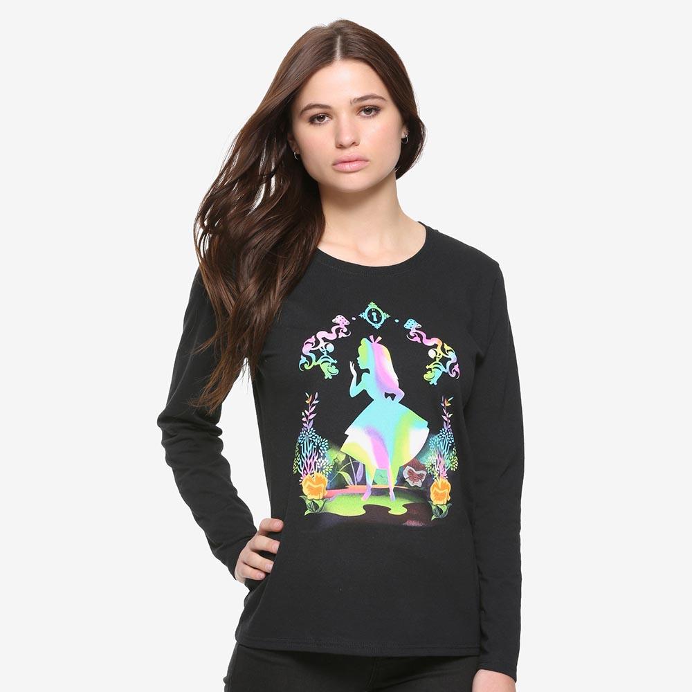ディズニー Disney ふしぎの国のアリス Tシャツ ロンT 長袖 ロングスリーブ 長袖 レディースdCoxBerQW