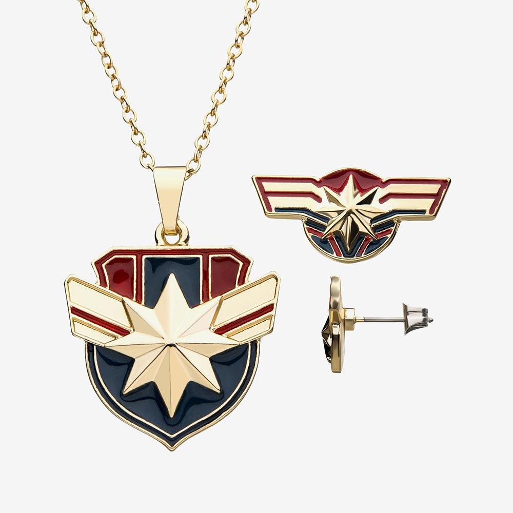 マーベル Marvel キャプテン・マーベル ネックレス ピアス セット レディース