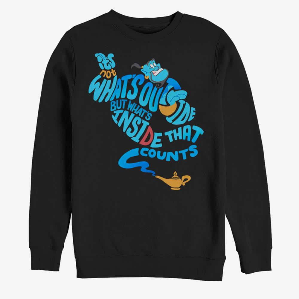 海外限定 アラジン ジーニー グッズ 信憑 スウェット 新作多数 ディズニー Quote Bottle Disney メンズ Sweatshirt