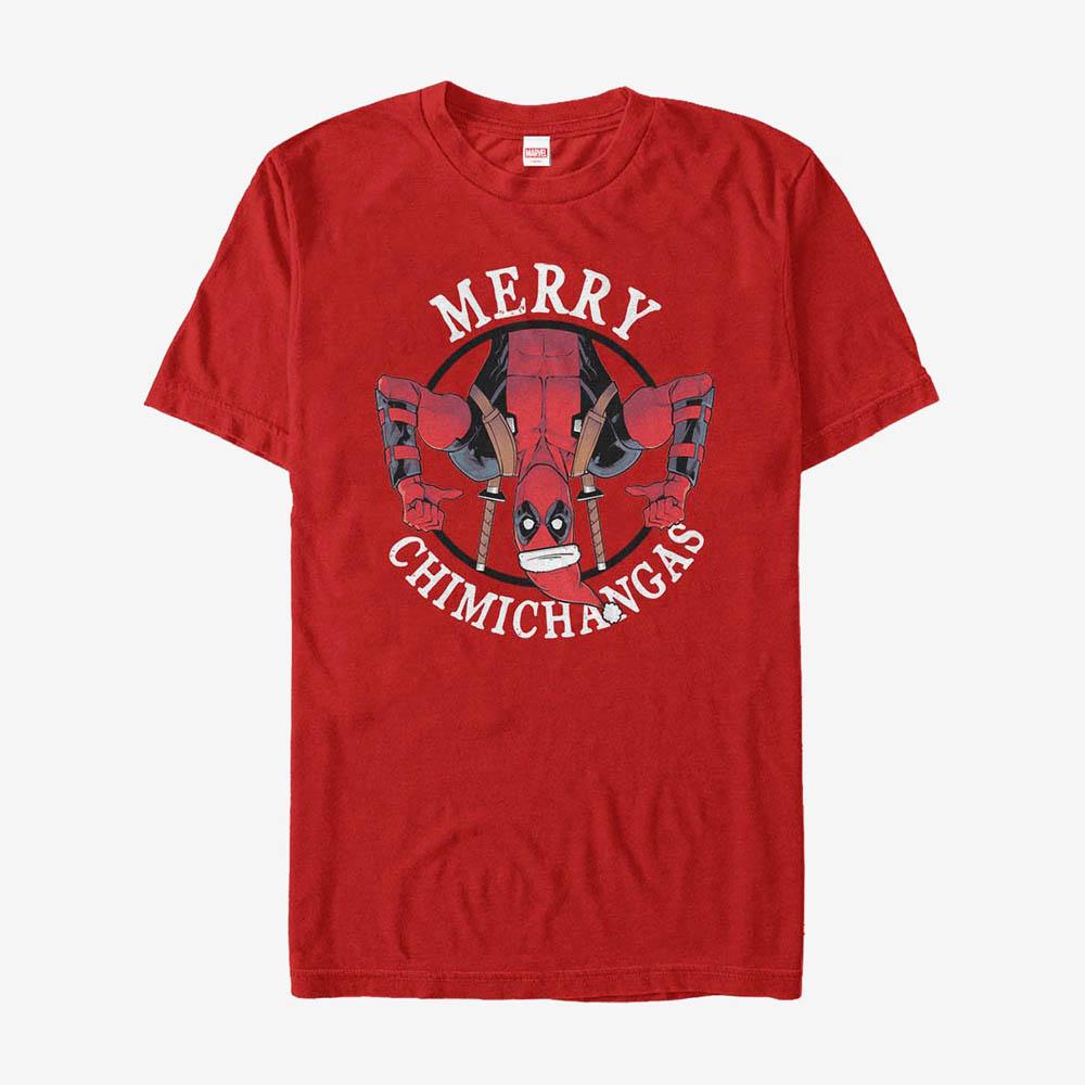 当店一番人気 海外モデル デッドプールTシャツ デッドプール Tシャツ マーベル Marvel Deadpool Chimichangas メンズ Merry Holiday T-Shirt 与え