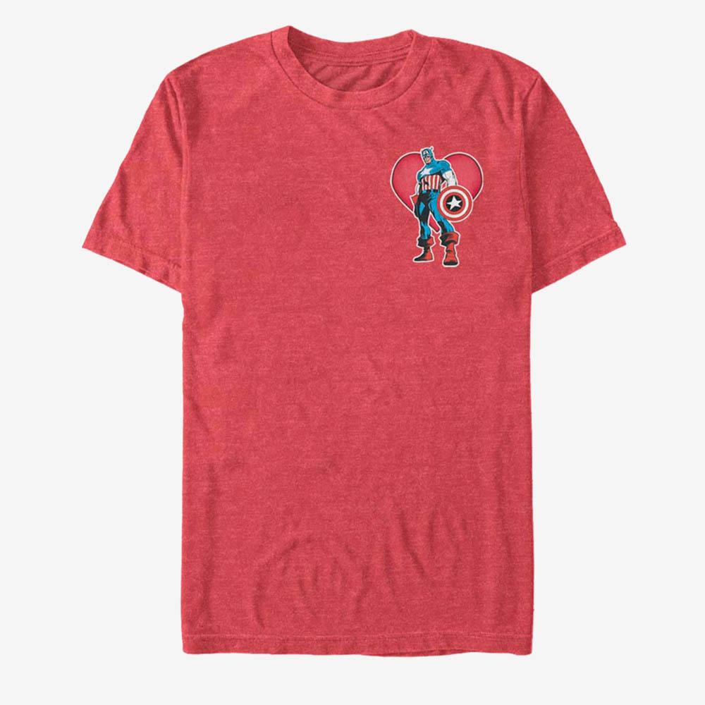 格安店 海外限定モデル キャプテン アメリカ Tシャツ キャプテンアメリカ マーベル Marvel T-Shirt Pocket ついに入荷 Heart America Captain Captian メンズ