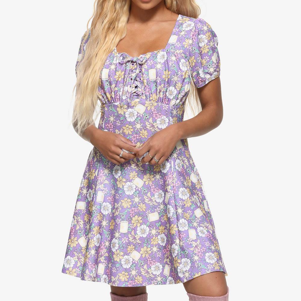 通販 激安◆ 海外モデル 塔の上のラプンツェル グッズ ワンピース ディズニー Disney Tangled Universe Her 値引き Floral レディース Dress Icons Rapunzel