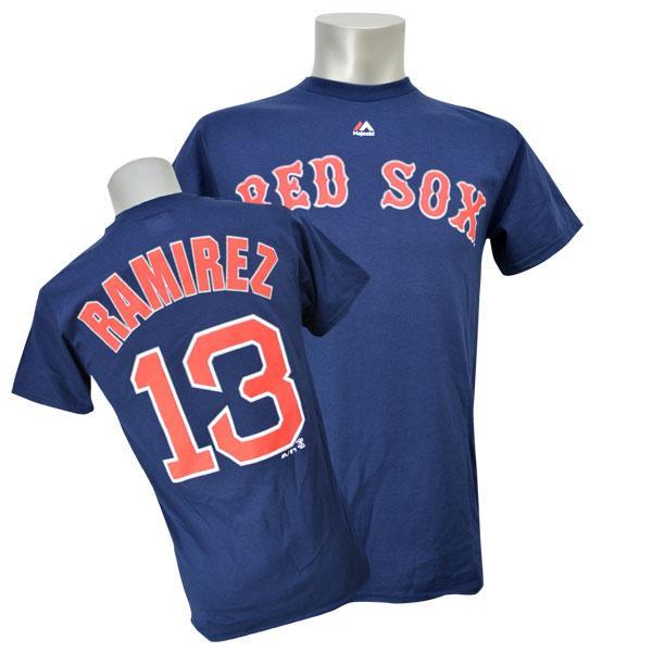 MLB レッドソックス ハンリー・ラミレス Tシャツ ネイビー マジェスティック Player Tシャツ【1910セール】【1112】