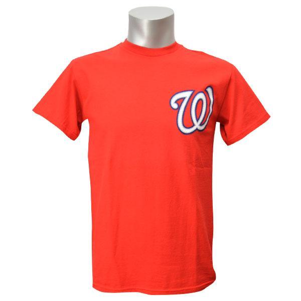 あす楽対応 爆買い送料無料 チームワードマークがデザインされた定番ファンアイテム リニューアル記念メガセール MLB セール 登場から人気沸騰 ナショナルズ Tシャツ レッド マジェスティック New Wordmark