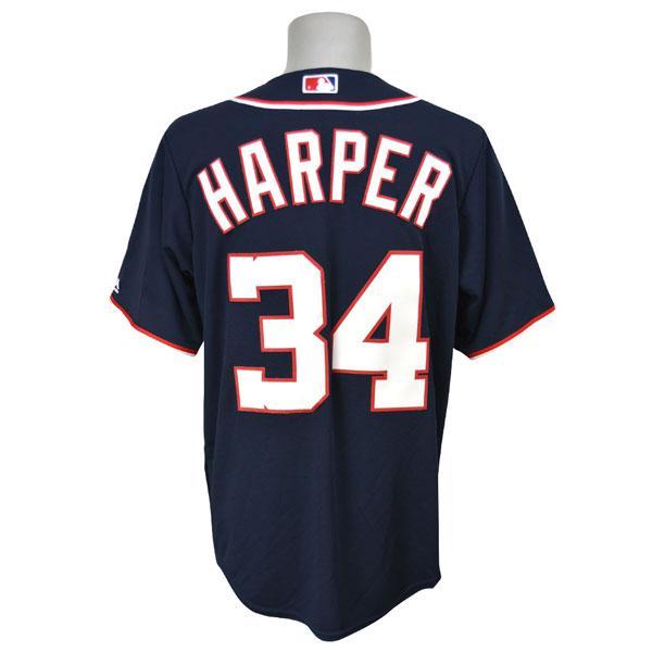 MLB ナショナルズ ブライス・ハーパー ユニフォーム オルタネートネイビー Majestic
