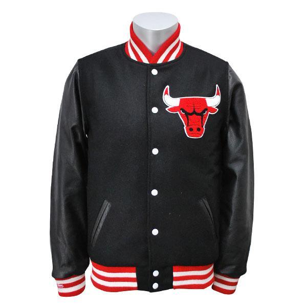 NBA ブルズ ジャケット ブラック ミッチェル&ネス Wool/Leather Varsity Front Snap ジャケット【1811MNセール】