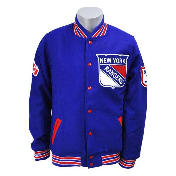 NHL レンジャース ジャケット ブルー ミッチェル&ネス Wool/Leather Varsity Front Snap ジャケット【1811MNセール】