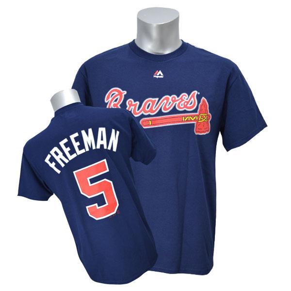 MLB ブレーブス フレディ・フリーマン Tシャツ ネイビー マジェスティック Player Tシャツ【1910価格変更】【1112】
