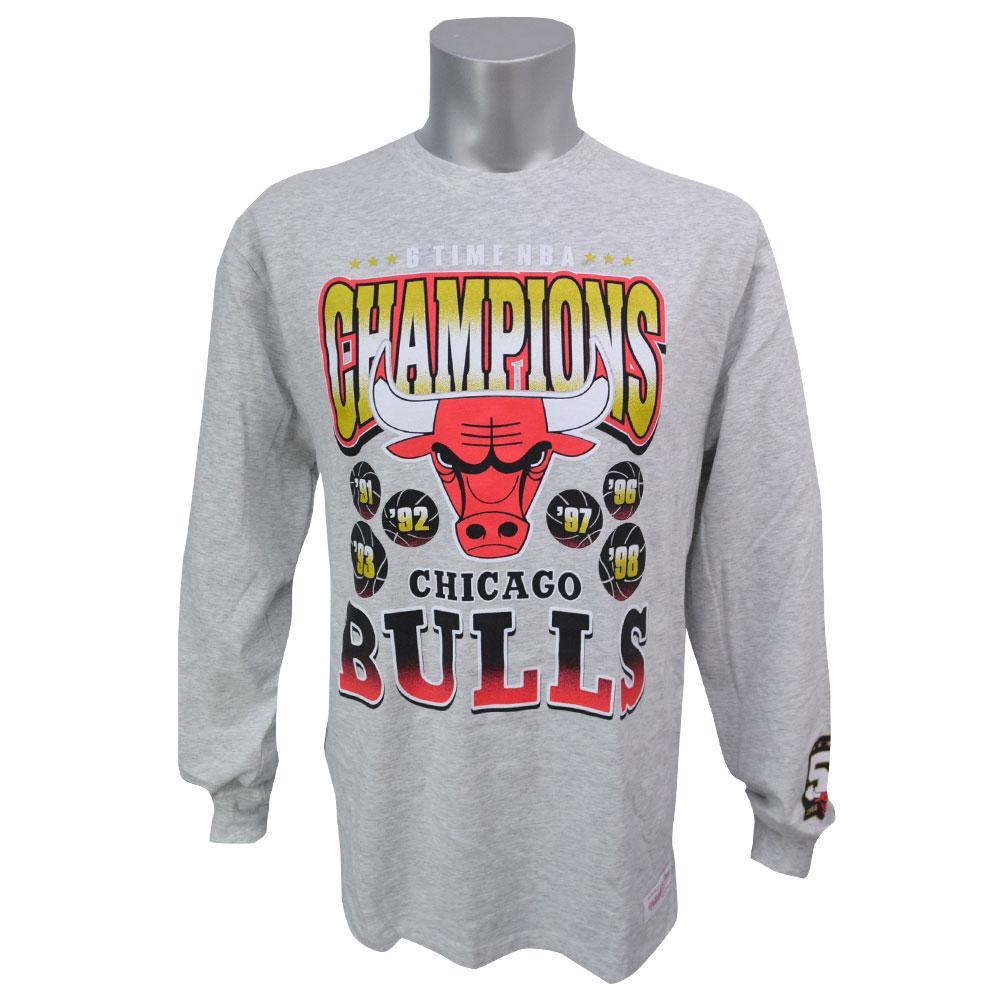 NBA Tシャツ ブルズ 50周年記念 シックスタイム チャンピオンズ ロング ミッチェル&ネス/Mitchell & Ness【1911セール】