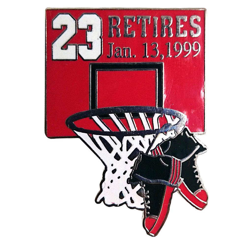NBA ブルズ マイケル・ジョーダン 引退 記念 ピンバッジ リタイアズ Jan.131999 Upper Deck(アッパーデック) レアアイテム【1910価格変更】