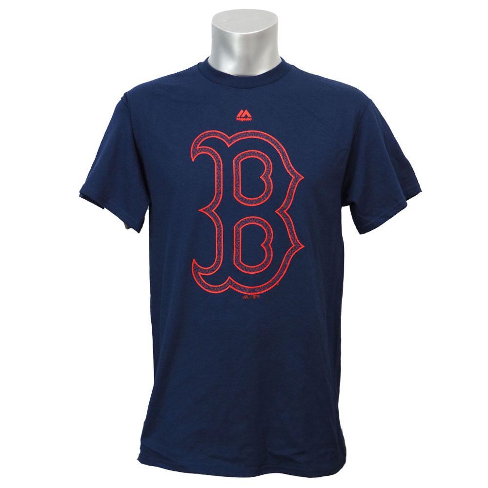 あす楽対応 大放出セール 使い勝手の良い 独立記念日モデルのロゴTシャツ リニューアル記念メガセール MLB レッドソックス 2016 Tシャツ マジェスティック ストライプス Majestic スターズ ロゴ