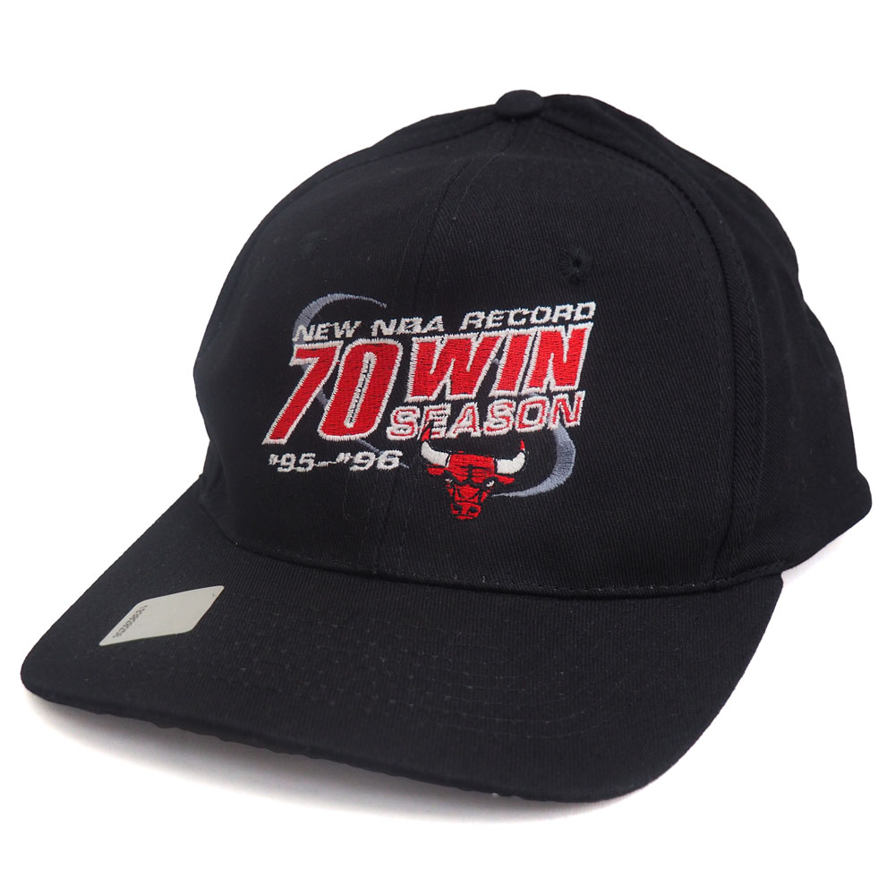 NBA ブルズ 1995-96 70Win キャップ/帽子 KC ブラック レアアイテム【1910価格変更】【191028変更】