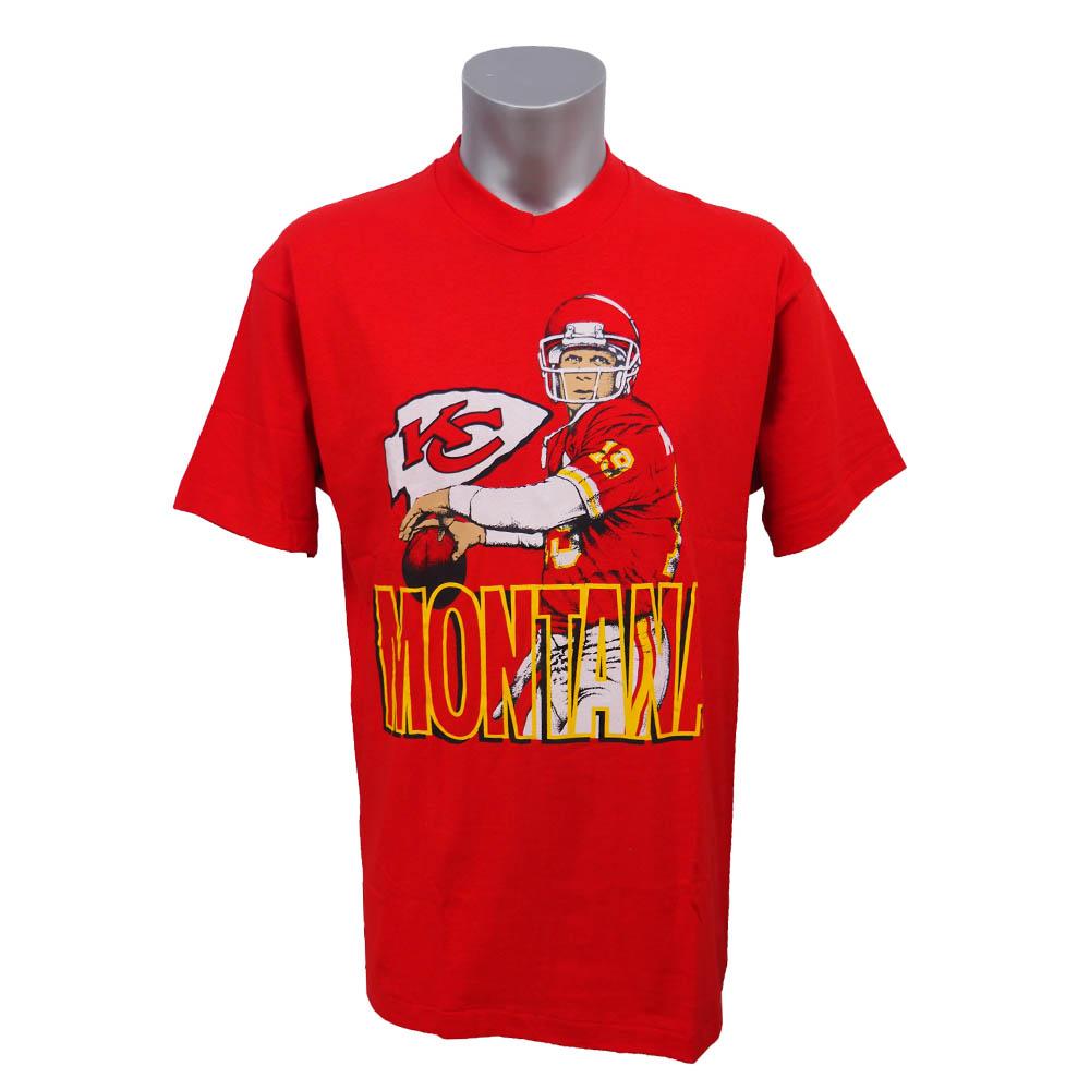 スーパーボウル進出 NFL チーフス ジョー・モンタナ モンタナ カリカチュア Tシャツ Fruit of The Loom レッド レアアイテム【1910価格変更】