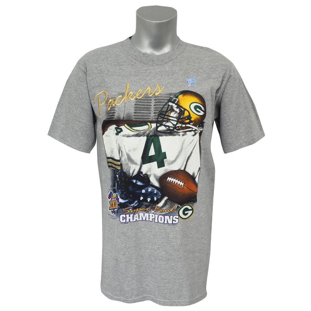 NFL パッカーズ ブレット・ファーブ 第31回 スーパーボウル 優勝記念 Tシャツ Super Bowl XXXI リースポーツ/Lee Sports グレー レアアイテム【1910価格変更】