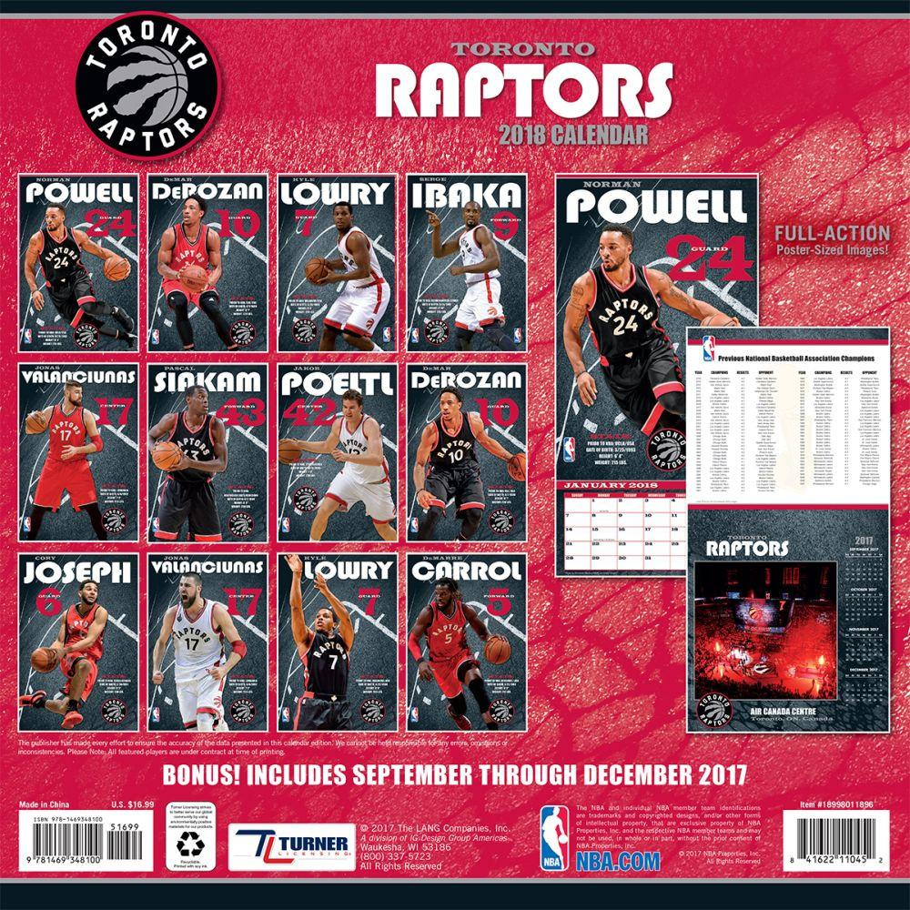 reservation nba raptors 2018 teams wall calendar turner turner