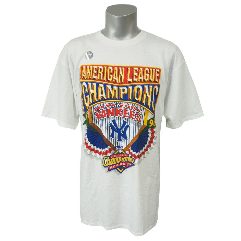 20年以上前のお宝Tシャツが発掘 MLB 引き出物 ヤンキース 1996 アメリカン リーグ チャンピオン スターター OCSL Starter レアアイテム Tシャツ セール ホワイト