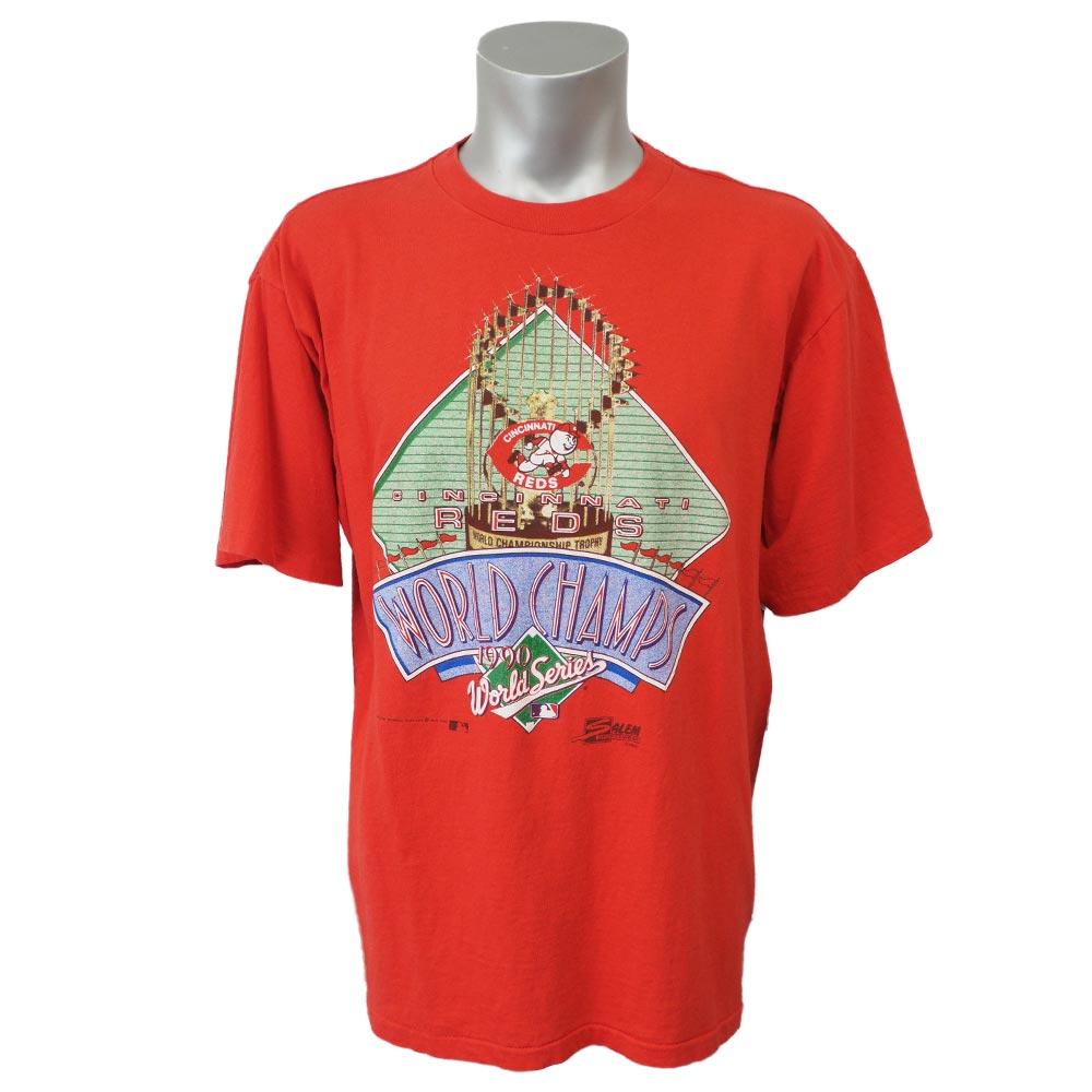 秋山選手所属 MLB レッズ 1990 ワールドシリーズ チャンピオンズ Tシャツ Slam レッド レアアイテム【1910価格変更】【1112】