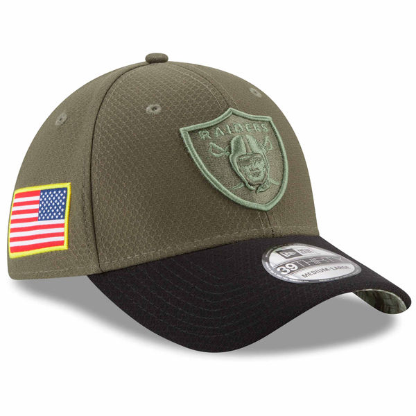 NFL Raiders 2017 Salute To Service 39THIRTY flextime cap   hat new gills   New Era olive 1ce377055