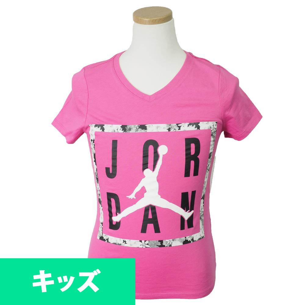 ナイキ ジョーダン/NIKE JORDAN ガールズ Tシャツ 半袖 Vネック ジャンプマン ピンク【1910価格変更】