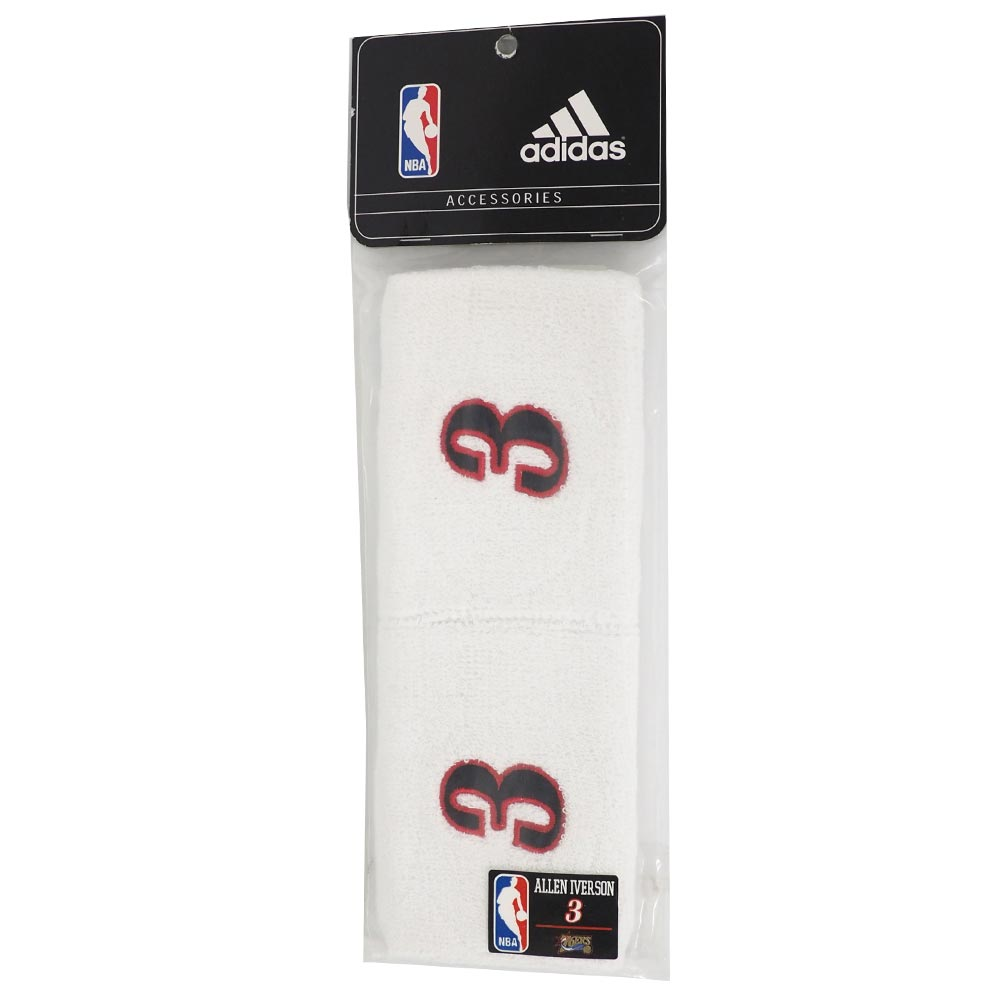 best website 5fd22 1ce16 NBA 76ers Allen Iverson wristband two set Adidas /Adidas white rare item