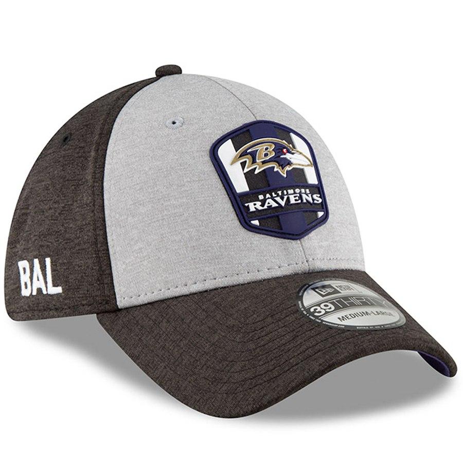NFL レイブンズ キャップ/帽子 39THIRTY 2018 選手着用 サイドライン ロード ニューエラ/New Era ヘザーグレー【1910価格変更】【191028変更】