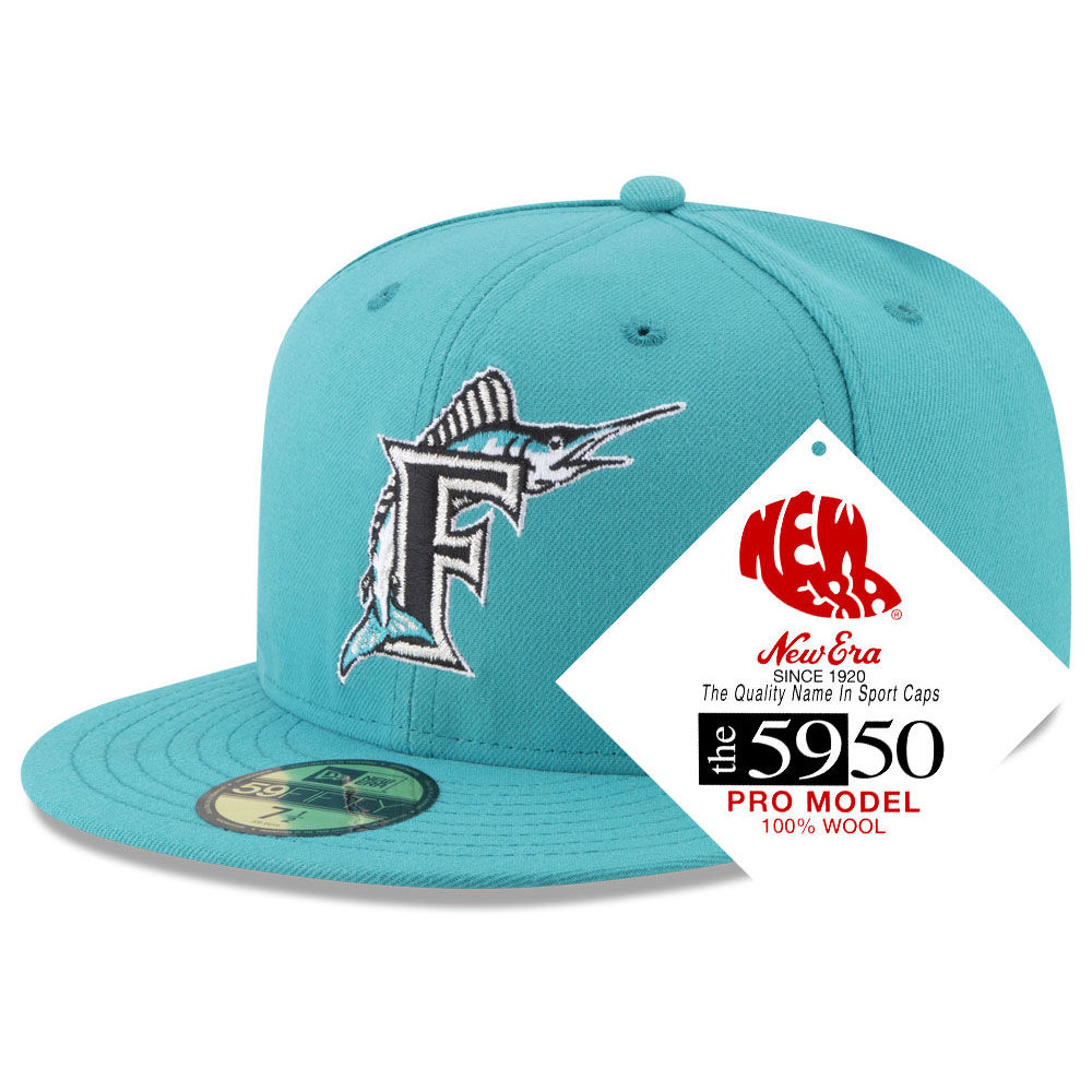 a34996f6fdc MLB NBA NFL Goods Shop  MLB Florida Marlins cap   hat nostalgic classic  59FIFTY new gills  New Era aqua