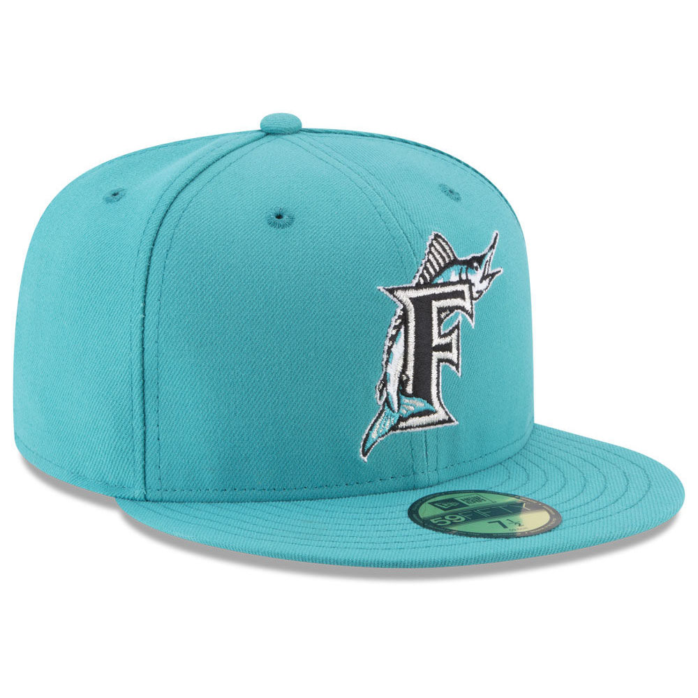 ccfffa6fb97 MLB Florida Marlins cap   hat nostalgic classic 59FIFTY new gills  New Era  aqua