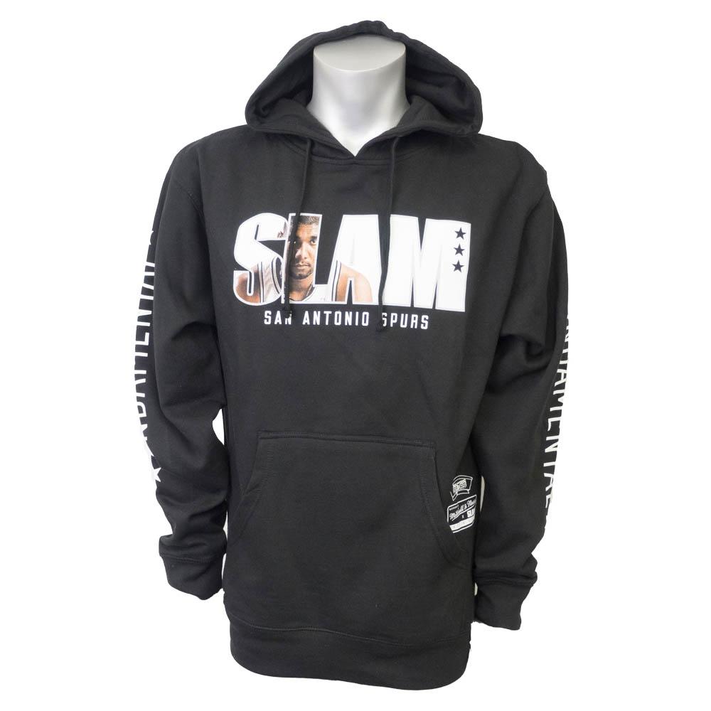サマーセール NBA パーカー スパーズ ティム・ダンカン フーディー SLAM/スラム 表紙ロゴ Mitchell & Ness ブラック